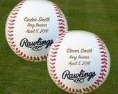 Ring Bearer Gift, Engraved Baseballs, Set of 2 Baseballs,Groomsmen, Birthday, Christmas Gift, Keepsake,
