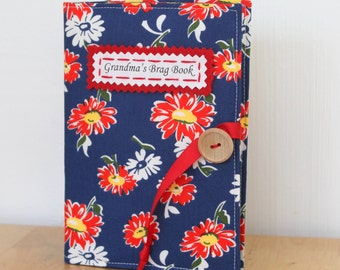 personalized brag book photo album vintage style blue and red floral