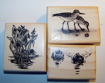 3 Bird Lot Ducks, Sandpipers New mounted rubber stamps