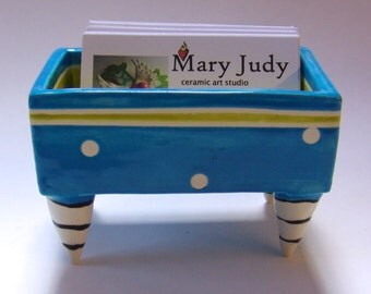 colorful pottery Business Card Holder :) bright pretty Blue with white polka-dots & chartreuse, striped legs ceramics
