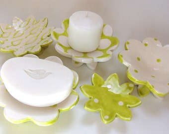 Chartreuse pottery Dish Set :) 5 ceramic serving flowers, whimsical hostess gift, bright candleholders, polka-dot ring dish