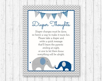 Cute Elephant Diaper Thoughts Game / Elephant Baby Shower / Chevron Pattern / Navy & Grey / Late Night Diaper Game / INSTANT DOWNLOAD