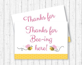 Pink Bumble Bee Party Favor Tags / Thank You Tags / Bee Baby Shower / Thanks For Beeing Here Tags / Baby Girl Shower / INSTANT DOWNLOAD