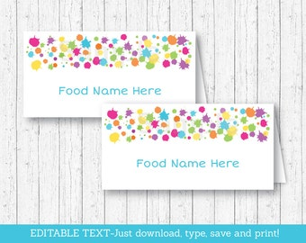 Art Party Buffet Cards / Art Party Food Labels / Art Party Place Cards / Painting Party / INSTANT DOWNLOAD Editable PDF A215