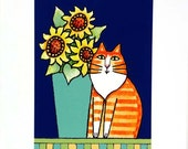 Cat Lover Art Print/ Longhair Orange Tuxedo Tabby with Sunflowers by Susan Faye
