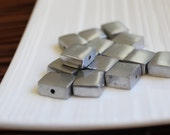 Small Square Recycled Aluminium Beads x 8 (10mm)