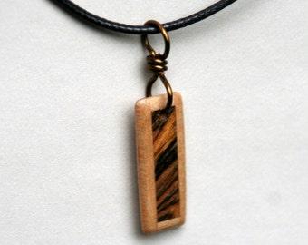 Handmade Black Walnut and Bocote Wood Pendant J160602