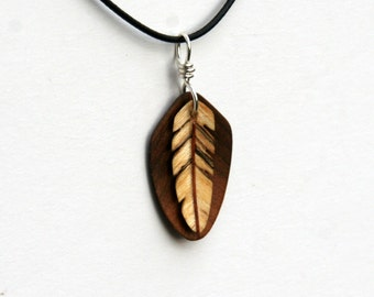 Handcarved Black Walnut, Box Elder and Mahogany Wood Double Leaf / Feather Pendant J160221
