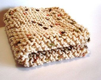 Dishcloth Facecloth or Washcloth 100% Cotton Spa Hand Knit Cloth Beige Oatmeal Prima Vera Flecks of Color Tan Neutral Spring Cleaning