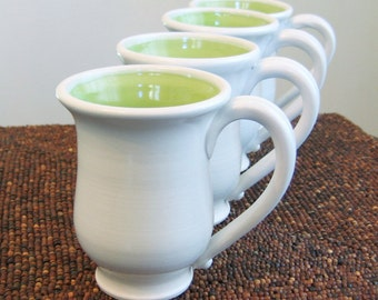Pottery Coffee Mugs - Handmade Mugs - Set of 4 Ceramic Stoneware Pottery Cups in Lime Green Wedding Gift