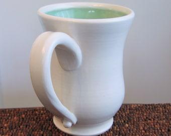 Pottery Coffee Mug Handmade Stoneware Ceramic Pottery Mug White and Mint Green 14 oz.
