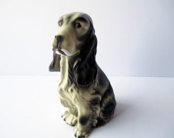 Vintage Dog Spaniel Black White Ceramic Figurine - Kitsch