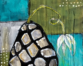 Sad flower painting, original art only, 6x6, black and white vase art, masculine art, unusual art, olive green and teal art, odd art