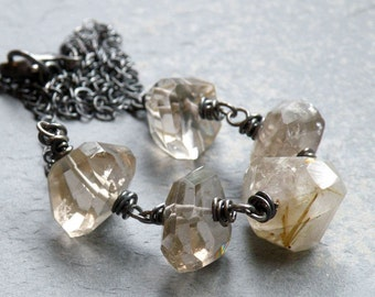 Rutilized Quartz Necklace, Neutral Gemstone Necklace, Sterling Silver, Beige Quartz Stone, Rustic Gemstones, Wire Wrapped, #4132