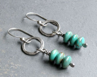 Turquoise Gemstone Earrings, Stacked Turquoise Earrings, Dangle Earrings, December Birthstone, Circle Dangle, Sterling Silver, #4669
