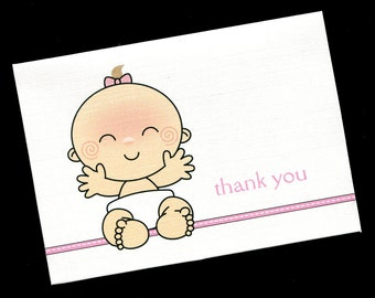 Baby Shower Thank You Cards - Baby Girl - Baby Girl Smiley Face - Baby Girl Thank You Cards - Blank Cards - Note Cards - Set of 20