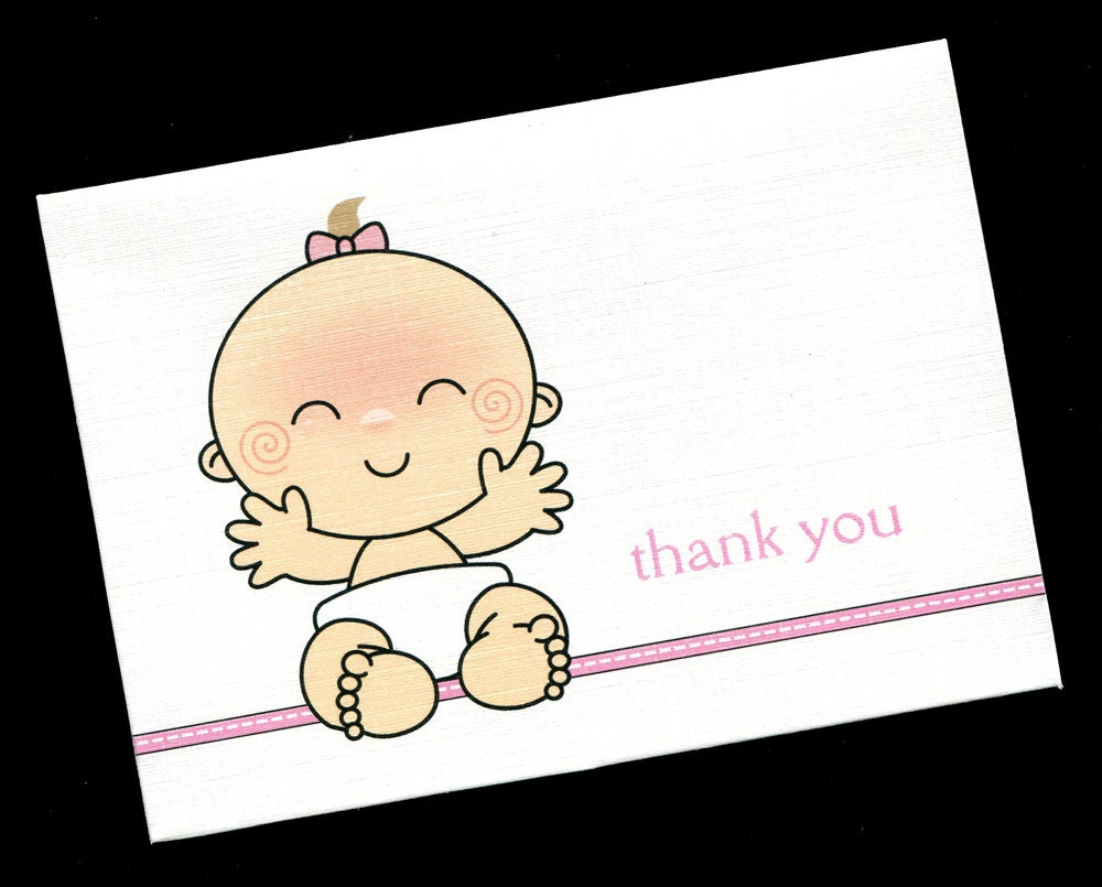 baby shower thank you cards baby girl baby girl smiley