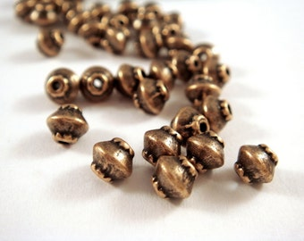 25 Antique Copper Spacer Beads Bicone Saucer 4x4mm Plated Alloy LF/CF - 25 pc - M7044-AC25
