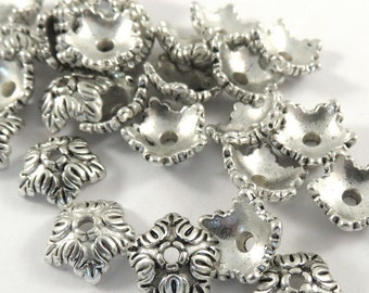 25 Antique Silver Flower Bead Caps 5 Petal Acanthus Leaf Tibetan Style LF 10x4mm 1mm hole - 25 pc - F4191BC-AS25