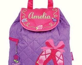 Girls Backpack Personalized Ballet Ballerina Stephen Joseph Quilted Preschool Toddler