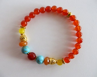 Carnelian and Gold Energy Bracelet, Gemstone Bracelet