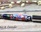 Poppies with Lavender Pen with Lampwork Beads