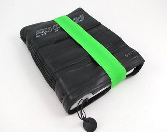 Journal, recycled bicycle inner tube, handmade blank, medium. Neon green elastic closure