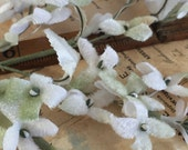 Vintage Millinery White and Soft Green Velvet Stephanotis Spray