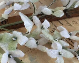Vintage Millinery White and Soft Green Velvet Stephanotis Spray
