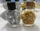 Gold Flakes and Silver Flakes in a Bottle Sun Catcher Suncatcher Window Display Glass Art