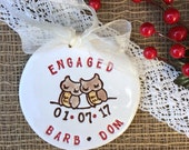 Engagement Ornament with Owls in Love -Personalized,Engagement Gift for Couple,Ceramic Ornament,Dated Ornament,Wedding Ornament