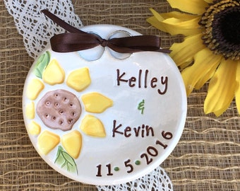 Sunflower Wedding Ring Dish - Ring Bearer Personalized Bowl Ring Pillow Alternative