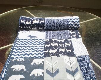 Baby quilt-Deer Baby quilt-baby boy bedding-baby girl quilt,woodland,rustic,grey,navy blue,deer,stag,bear,moose,arrow,chevron-Into the Woods
