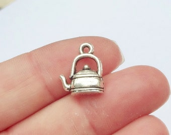 10, Tea Kettle, Teapot, Tea Charms 13x15x3mm, Hole:Approx 1.5mm