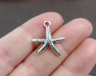 10, Starfish Charms 19x20x3.5mm, Hole:Approx 2mm