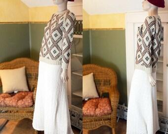 Vintage 60's 70's boho hipster sweater nerd argyle jumper shirt grunge pullover geometric Bell Nugents acrylic beige hunter green rust W SH
