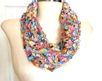 Infinity Scarf Pastel Rainbow Ribbon Handmade Crocheted Single Loop Lightweight New Cowl