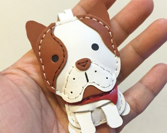 Small size - Marco the French Bulldog cowhide leather charm ( White / Brown )