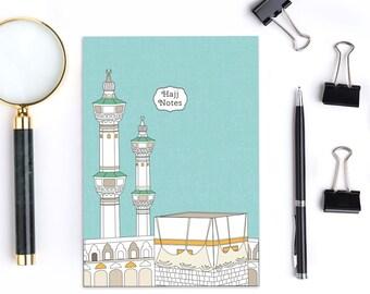"A5 ""Hajj notes"" notebook, journal.Kabah print design"