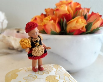 """Tiny Bisque Antique Jointed Doll in Crocheted Clothes 2"""" Itty Bitty Crocheted Clothes and Hat"""