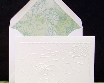 Set of Six Embossed Front Note Cards with Lined Envelopes...Green color Floral Liner standard A2 Envelope...Beautiful envelope glue on flap!