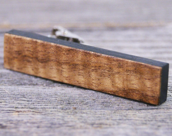 Mens Tie Clip Handcrafted From Curly Walnut and African Ebony