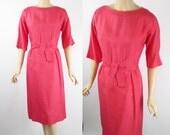 1950s Pink Shantung Dress by R and K Originals B40 W30