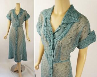 Vintage 1950s Dress Teal Sheer Nylon Shirtwaist B38 W28