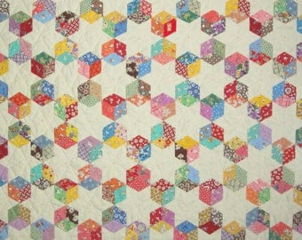 Baby Blocks and Stars Quilt 1930s Reproduction Fabrics English Paper Piecing Hand Pieced Ready to Ship from Quilts by Elena