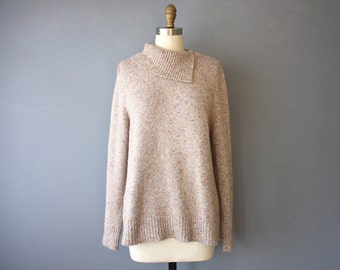 vintage 90s sweater / asymmetrical collar pullover sweater / soft speckled sweater M