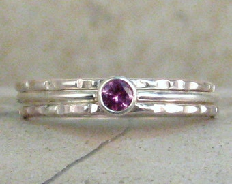 Solitaire Birthstone Ring Set - Tiny 3mm Dainty Gemstone Ring Set or Single - Made to Order - 1mm Stacking Ring