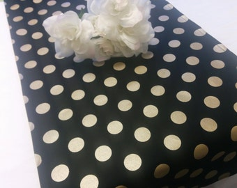 GOLD DOT Table Runner -  Napkins - or Placemats -Centerpiece Rounds, Squares , Black Gold dot runner -  polka dots white black,  bridal