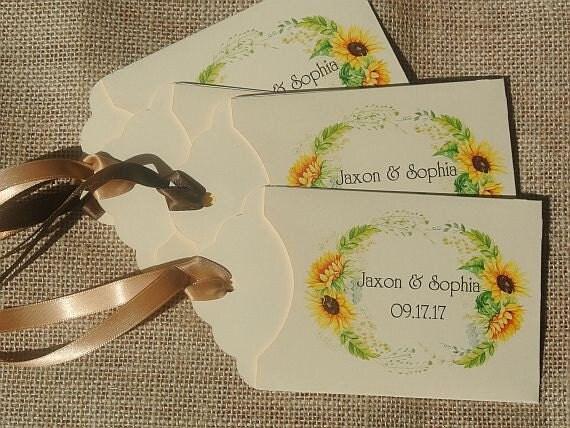 Sunflower Wedding Favors | Fall Wedding | Lottery Ticket Holders | Wedding Favors