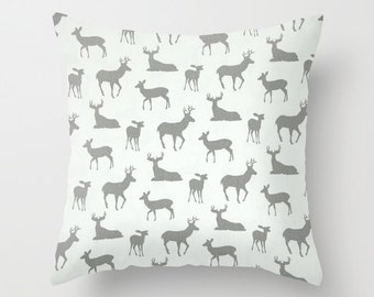 Deer Pillow Deer Pillows Grey Pillow Christmas Cushion Covers Camping Decor Woodland Pillow